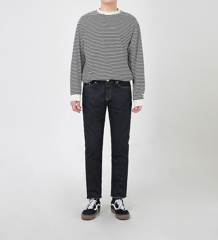 86로드(86ROAD) 2809 Stripe t-shirt(Black)